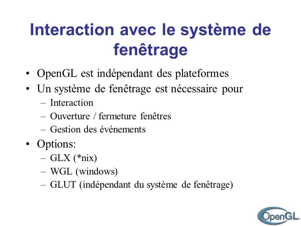 Interaction avec le système de fenêtrage OpenGL est indépendant des plateformes Un système de fenêtrage est nécessaire pour –Interaction –Ouverture /