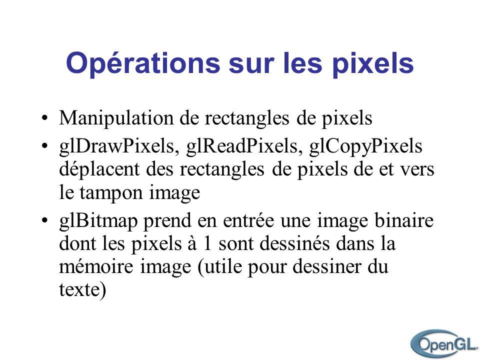 Opérations sur les pixels Manipulation de rectangles de pixels glDrawPixels, glReadPixels, glCopyPixels déplacent des rectangles de pixels de et vers