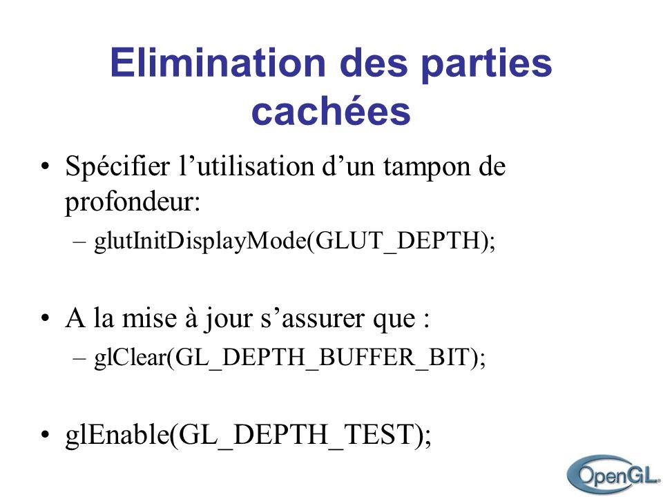 Elimination des parties cachées Spécifier lutilisation dun tampon de profondeur: –glutInitDisplayMode(GLUT_DEPTH); A la mise à jour sassurer que : –gl