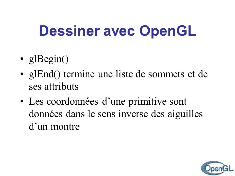 Dessiner avec OpenGL glBegin() glEnd() termine une liste de sommets et de ses attributs Les coordonnées dune primitive sont données dans le sens inver