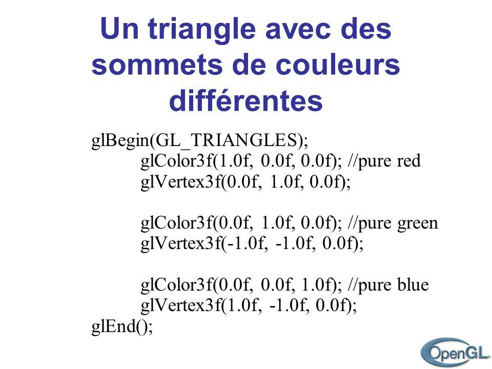 Un triangle avec des sommets de couleurs différentes glBegin(GL_TRIANGLES); glColor3f(1.0f, 0.0f, 0.0f); //pure red glVertex3f(0.0f, 1.0f, 0.0f); glCo