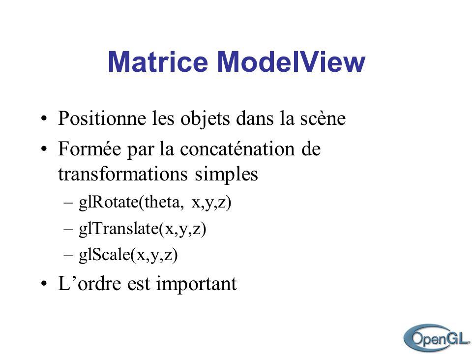 Matrice ModelView Positionne les objets dans la scène Formée par la concaténation de transformations simples –glRotate(theta, x,y,z) –glTranslate(x,y,