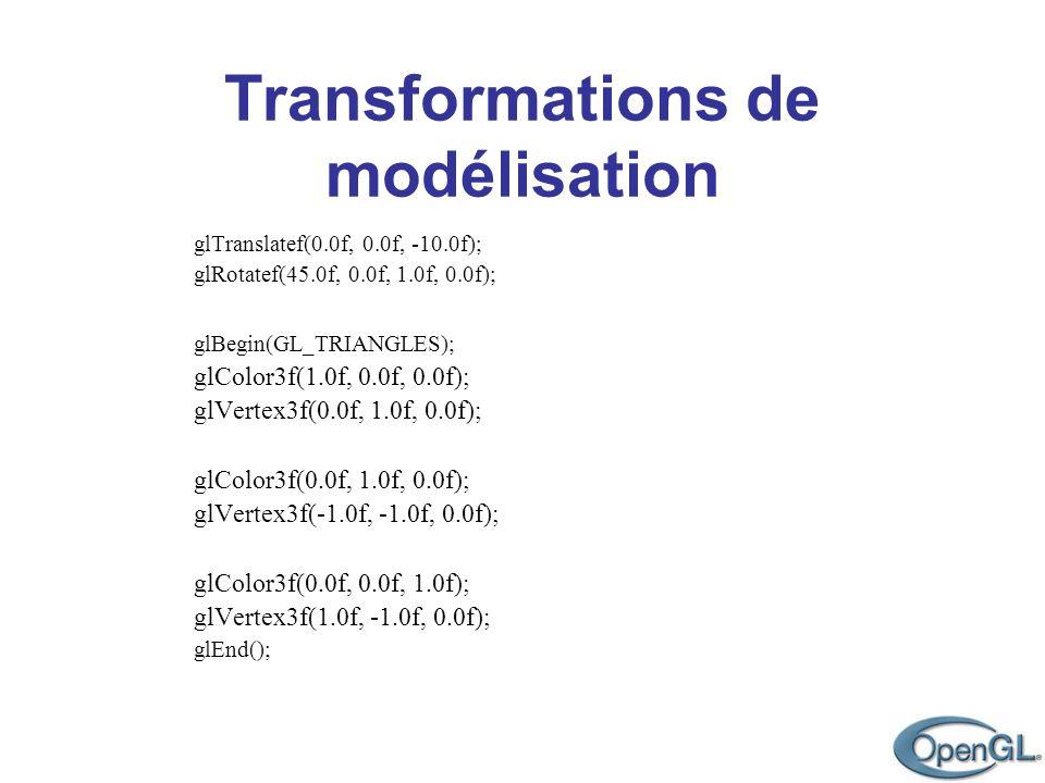 Transformations de modélisation glTranslatef(0.0f, 0.0f, -10.0f); glRotatef(45.0f, 0.0f, 1.0f, 0.0f); glBegin(GL_TRIANGLES); glColor3f(1.0f, 0.0f, 0.0