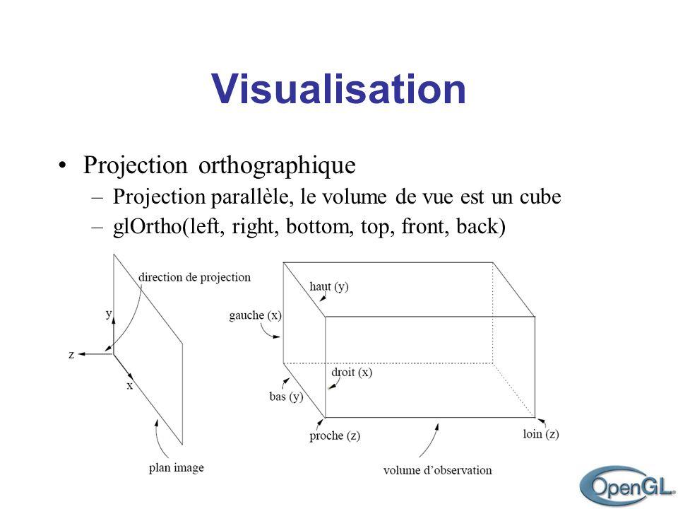 Visualisation Projection orthographique –Projection parallèle, le volume de vue est un cube –glOrtho(left, right, bottom, top, front, back)