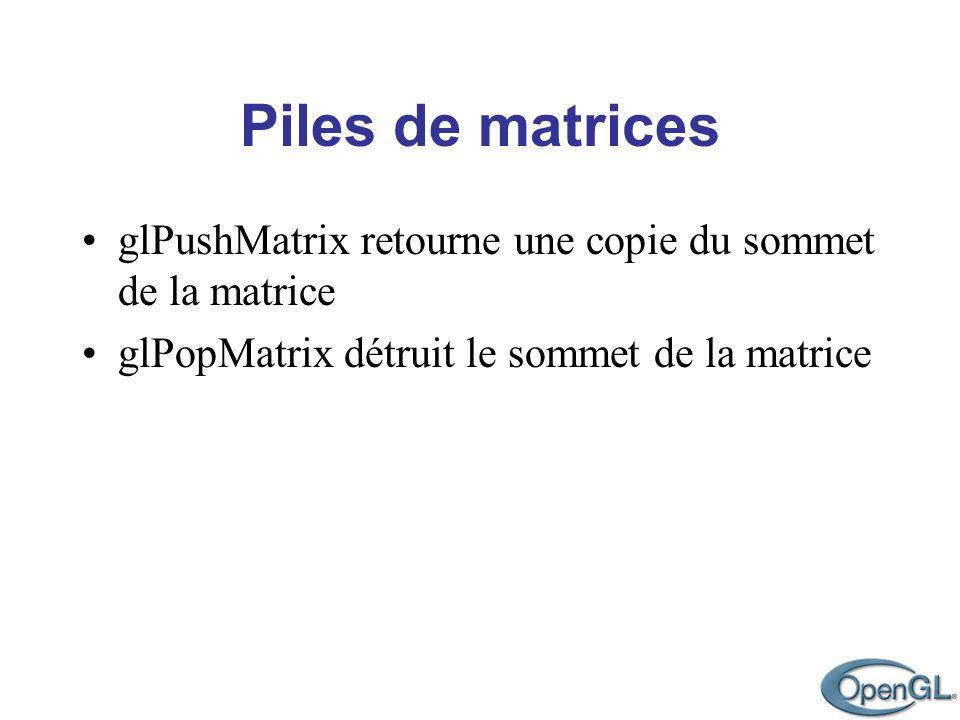 Piles de matrices glPushMatrix retourne une copie du sommet de la matrice glPopMatrix détruit le sommet de la matrice