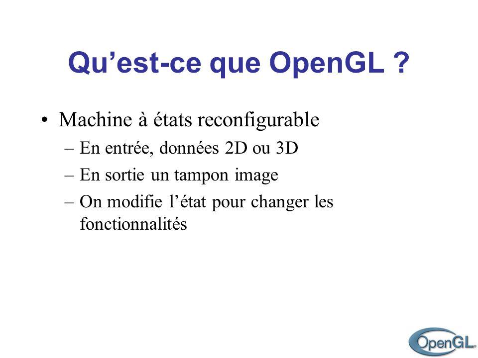 Quest-ce que OpenGL ? Machine à états reconfigurable –En entrée, données 2D ou 3D –En sortie un tampon image –On modifie létat pour changer les foncti