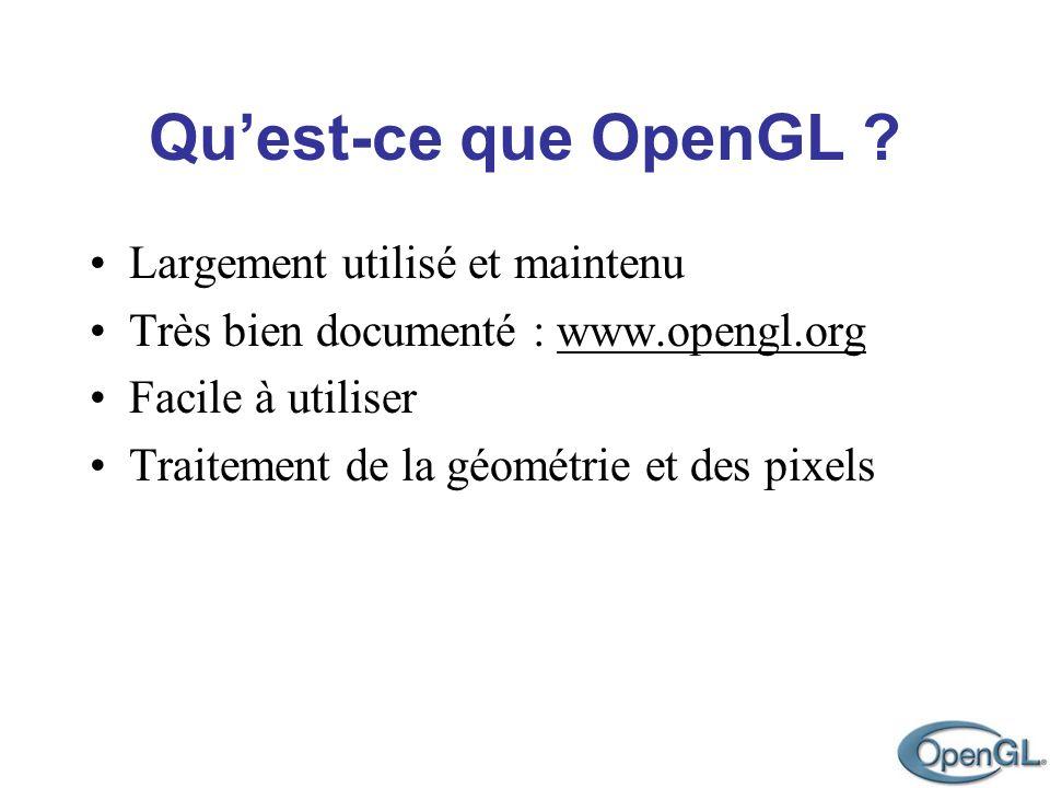 Quest-ce que OpenGL ? Largement utilisé et maintenu Très bien documenté : www.opengl.org Facile à utiliser Traitement de la géométrie et des pixels