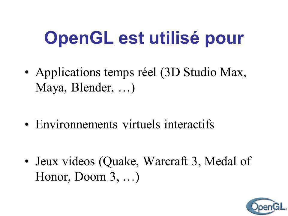 OpenGL est utilisé pour Applications temps réel (3D Studio Max, Maya, Blender, …) Environnements virtuels interactifs Jeux videos (Quake, Warcraft 3,