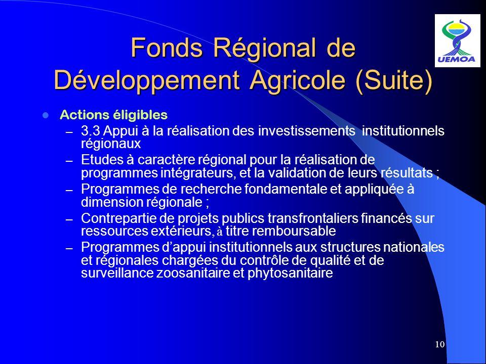 10 Fonds Régional de Développement Agricole (Suite) Actions éligibles – 3.3 Appui à la réalisation des investissements institutionnels régionaux – Etu