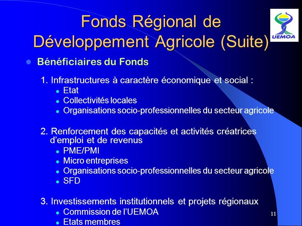 11 Fonds Régional de Développement Agricole (Suite) Bénéficiaires du Fonds 1. Infrastructures à caractère économique et social : Etat Collectivités lo