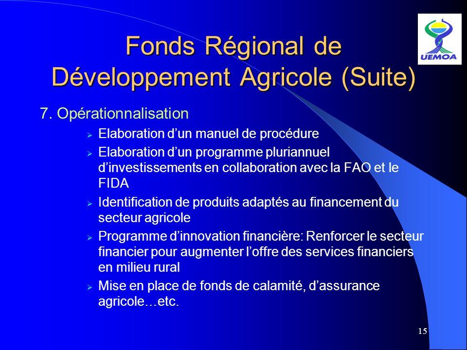 15 Fonds Régional de Développement Agricole (Suite) 7. Opérationnalisation Elaboration dun manuel de procédure Elaboration dun programme pluriannuel d