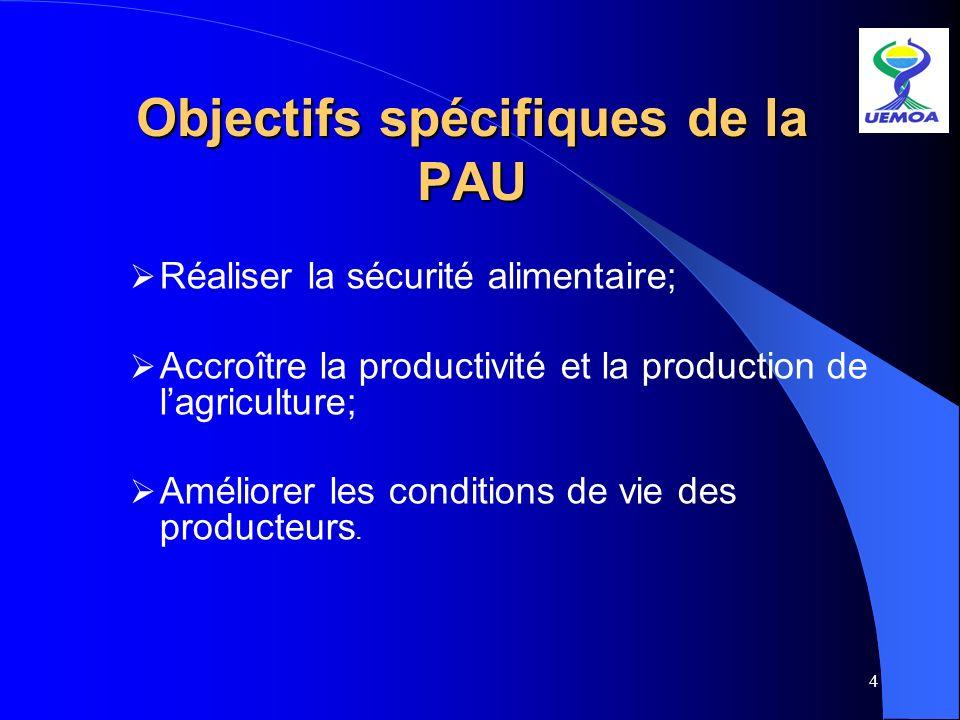 4 Objectifs spécifiques de la PAU Réaliser la sécurité alimentaire; Accroître la productivité et la production de lagriculture; Améliorer les conditio