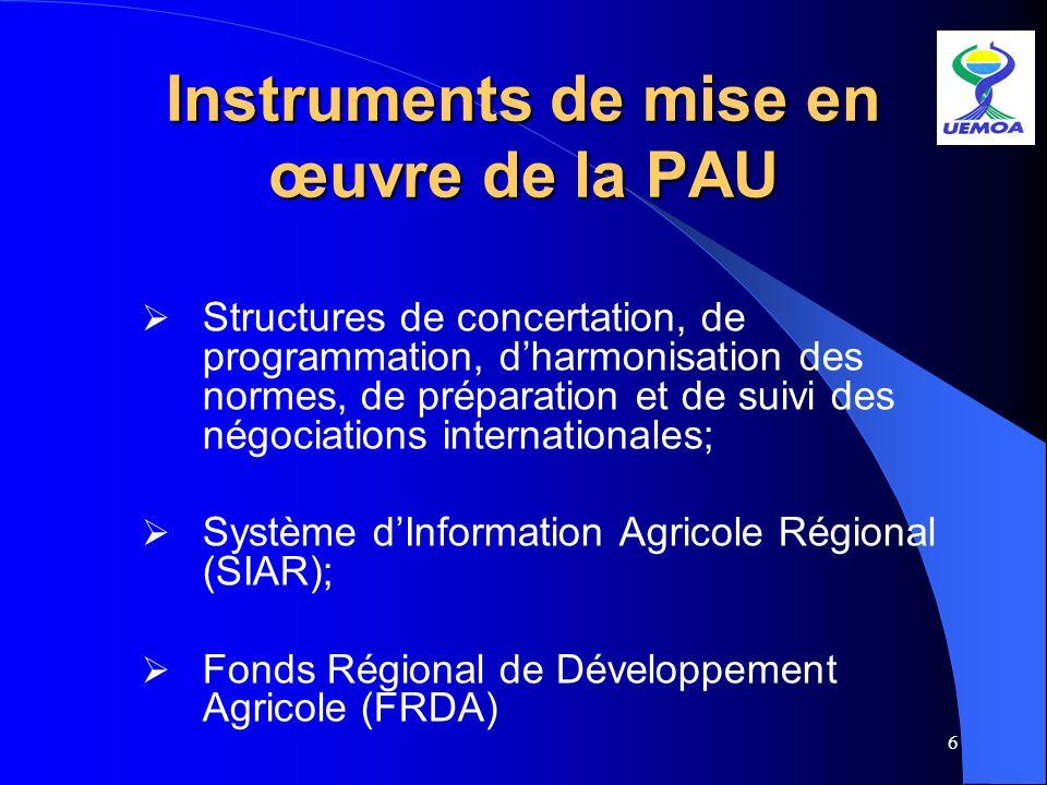 6 Instruments de mise en œuvre de la PAU Structures de concertation, de programmation, dharmonisation des normes, de préparation et de suivi des négoc