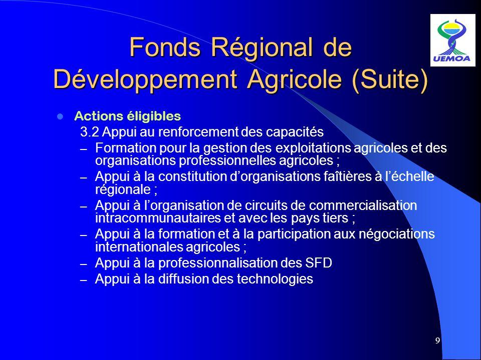 9 Fonds Régional de Développement Agricole (Suite) Actions éligibles 3.2 Appui au renforcement des capacités – Formation pour la gestion des exploitat