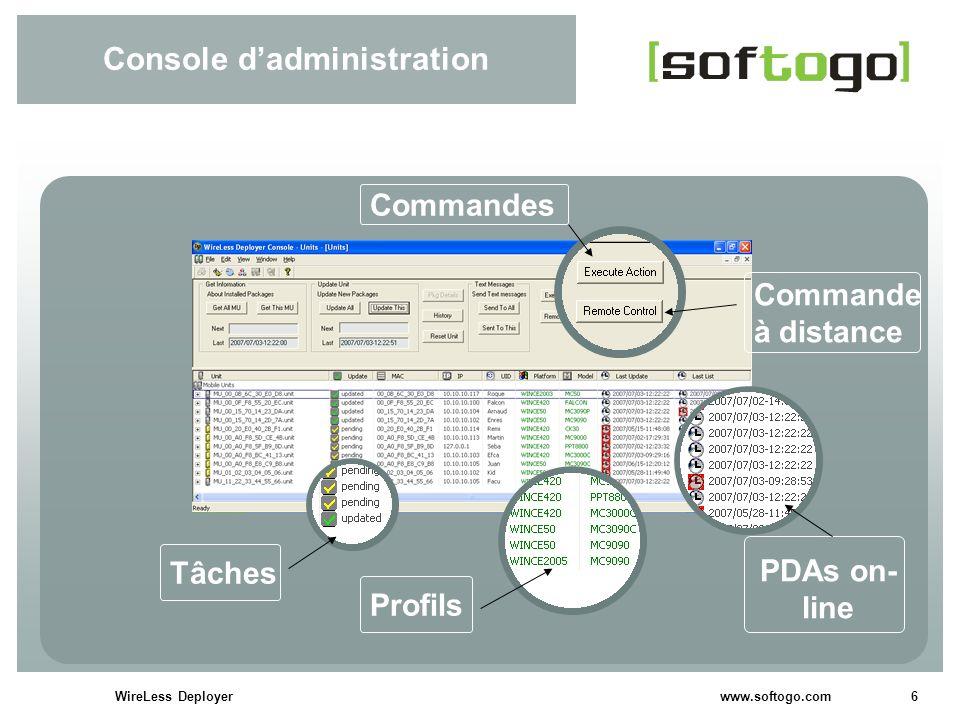 6WireLess Deployer www.softogo.com Console dadministration Commandes Commande à distance PDAs on- line Profils Tâches