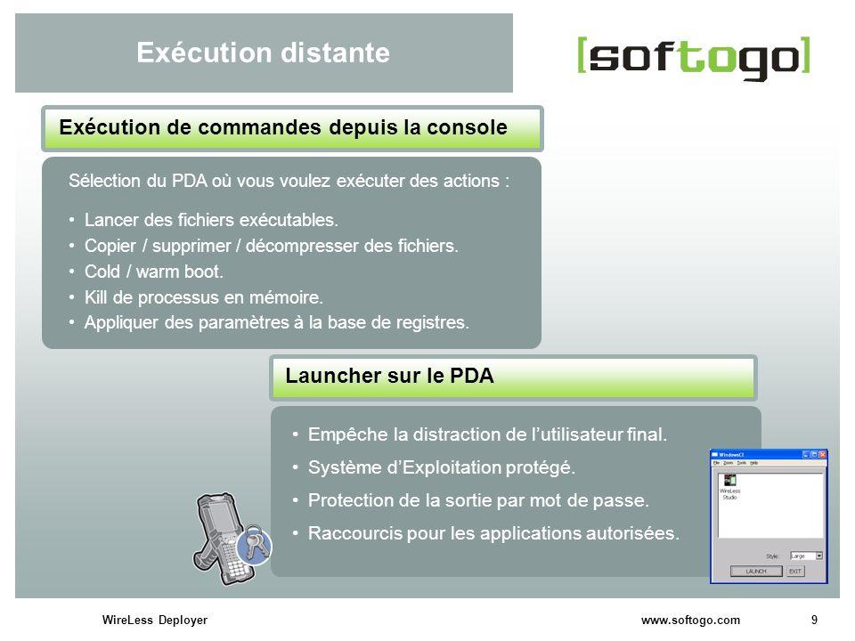 9WireLess Deployer www.softogo.com Exécution distante Empêche la distraction de lutilisateur final. Système dExploitation protégé. Protection de la so