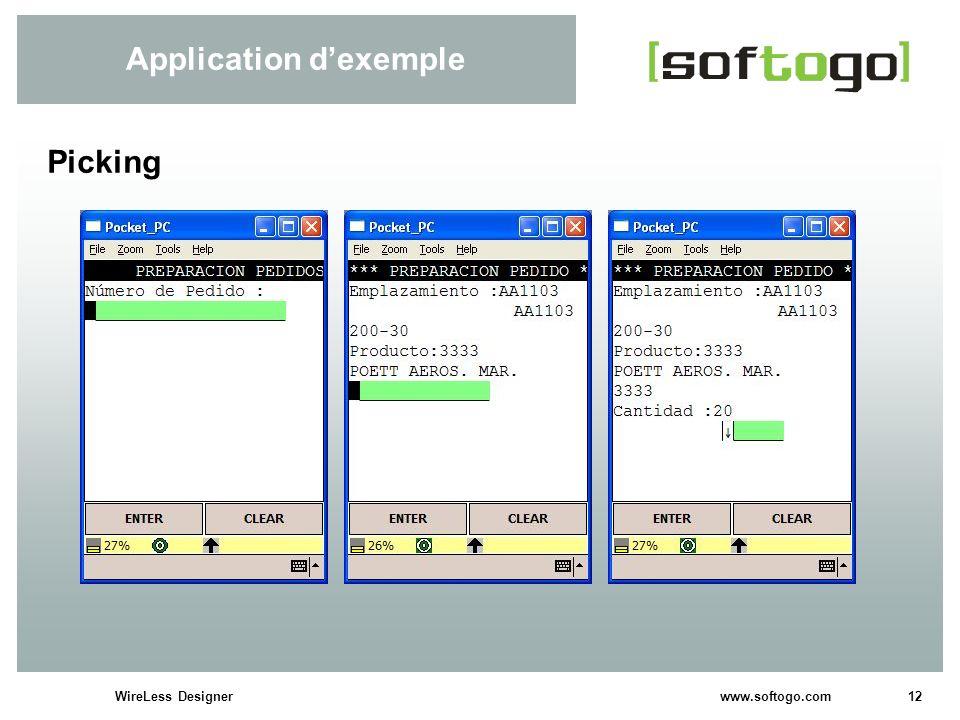 12WireLess Designer www.softogo.com Application dexemple Picking
