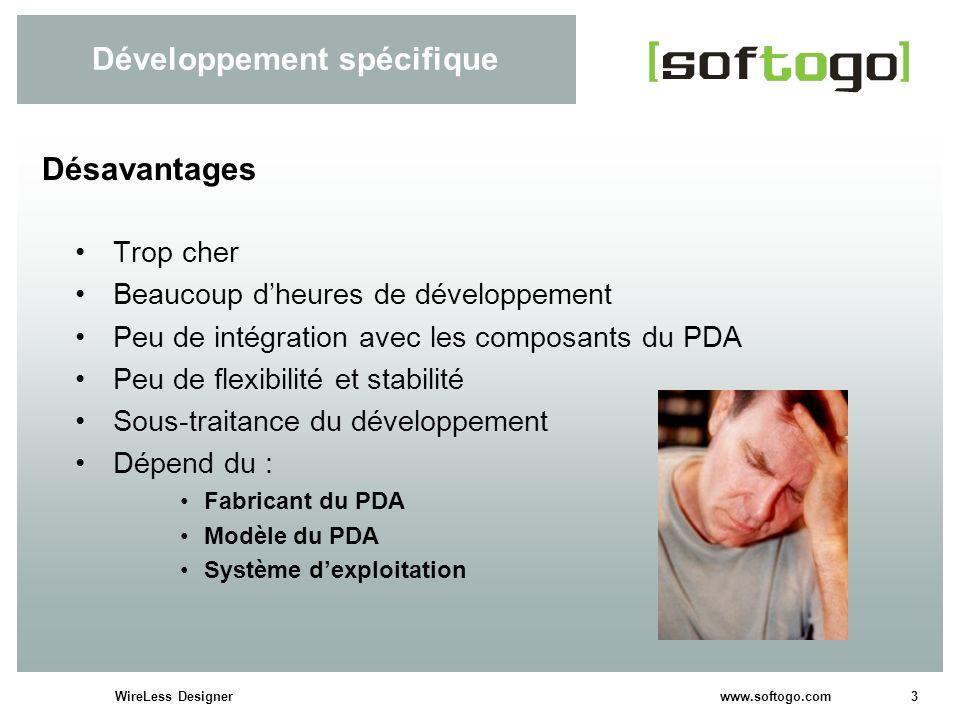 3WireLess Designer www.softogo.com Développement spécifique Trop cher Beaucoup dheures de développement Peu de intégration avec les composants du PDA