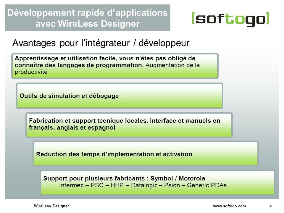 4WireLess Designer www.softogo.com Développement rapide dapplications avec WireLess Designer Avantages pour lintégrateur / développeur Outils de simul