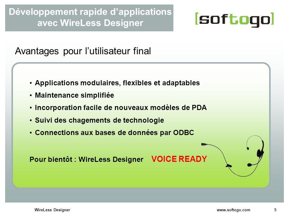5WireLess Designer www.softogo.com Développement rapide dapplications avec WireLess Designer Avantages pour lutilisateur final Applications modulaires