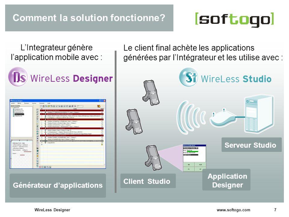7WireLess Designer www.softogo.com Comment la solution fonctionne? Le client final achète les applications générées par lIntégrateur et les utilise av
