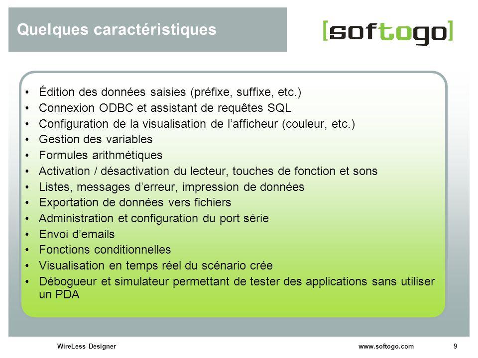 9WireLess Designer www.softogo.com Quelques caractéristiques Édition des données saisies (préfixe, suffixe, etc.) Connexion ODBC et assistant de requê