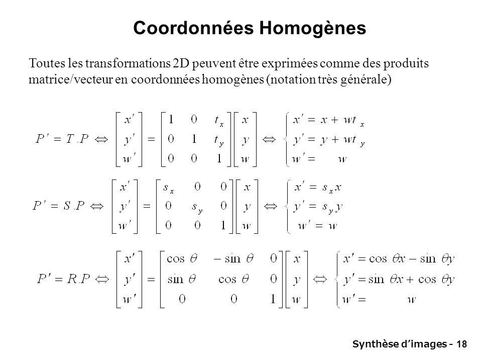 Synthèse dimages - 18 Coordonnées Homogènes Toutes les transformations 2D peuvent être exprimées comme des produits matrice/vecteur en coordonnées hom