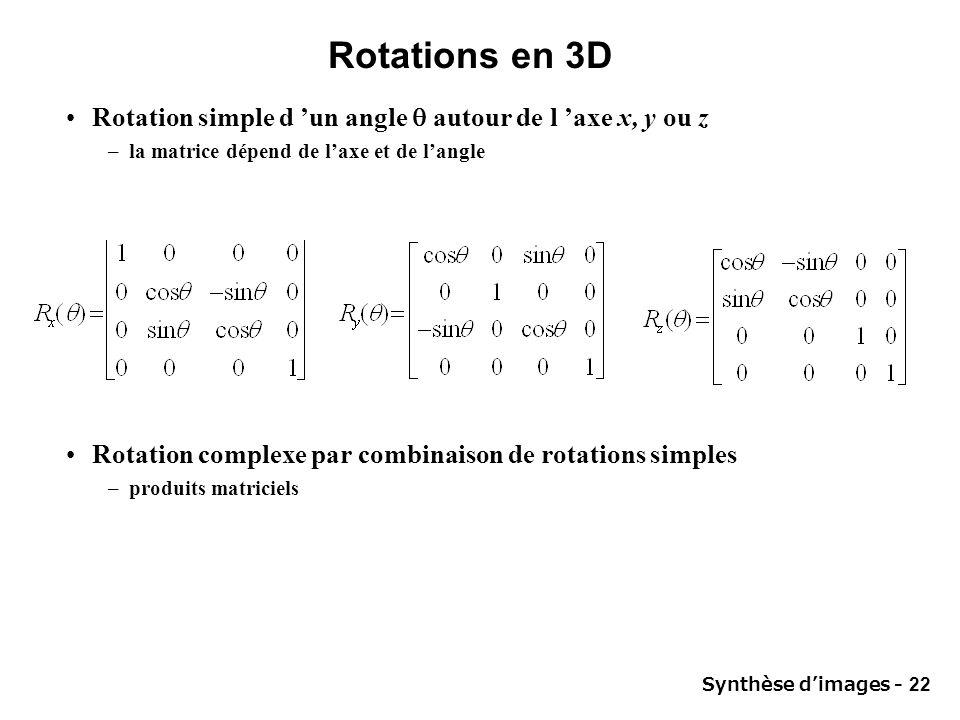 Synthèse dimages - 22 Rotations en 3D Rotation simple d un angle autour de l axe x, y ou z –la matrice dépend de laxe et de langle Rotation complexe p