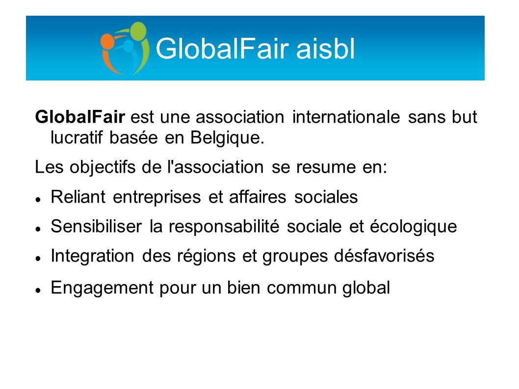 GlobalFair aisbl GlobalFair est une association internationale sans but lucratif basée en Belgique. Les objectifs de l'association se resume en: Relia
