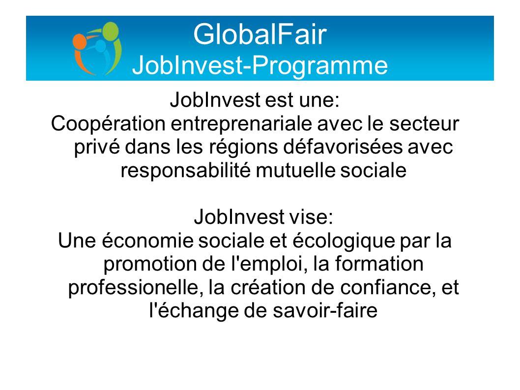 GlobalFair JobInvest-Programme JobInvest est une: Coopération entreprenariale avec le secteur privé dans les régions défavorisées avec responsabilité