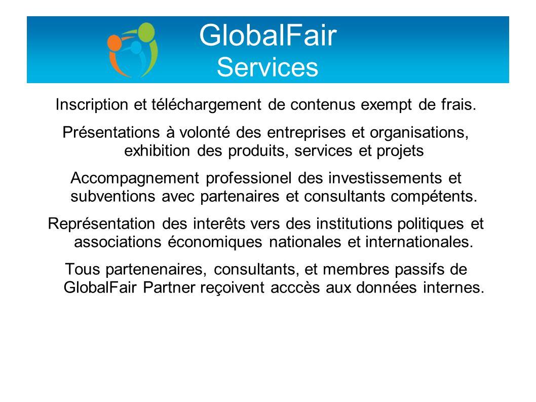 GlobalFair Services Inscription et téléchargement de contenus exempt de frais. Présentations à volonté des entreprises et organisations, exhibition de