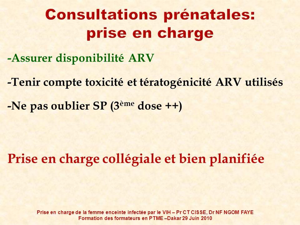 -Assurer disponibilité ARV -Tenir compte toxicité et tératogénicité ARV utilisés -Ne pas oublier SP (3 ème dose ++) Prise en charge collégiale et bien