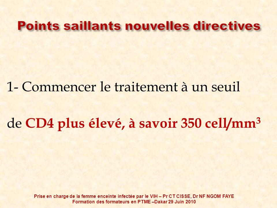 1- Commencer le traitement à un seuil de CD4 plus élevé, à savoir 350 cell/mm 3 Prise en charge de la femme enceinte infectée par le VIH – Pr CT CISSE