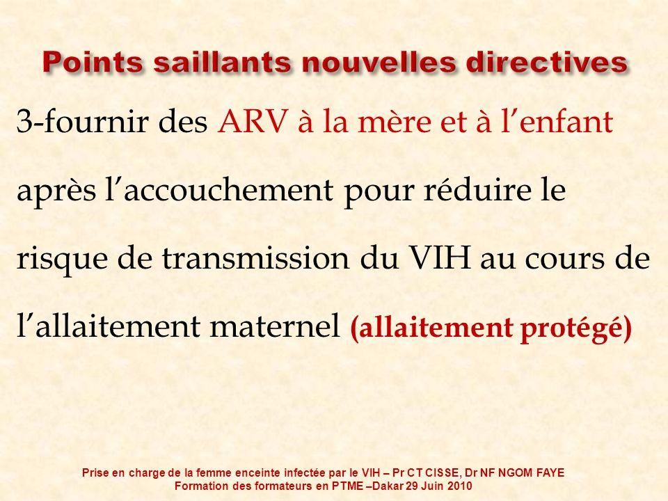 3-fournir des ARV à la mère et à lenfant après laccouchement pour réduire le risque de transmission du VIH au cours de lallaitement maternel (allaitem