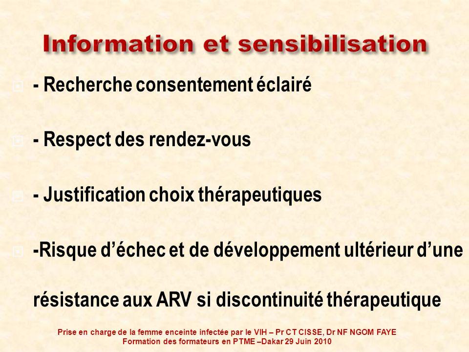 - Recherche consentement éclairé - Respect des rendez-vous - Justification choix thérapeutiques -Risque déchec et de développement ultérieur dune rési