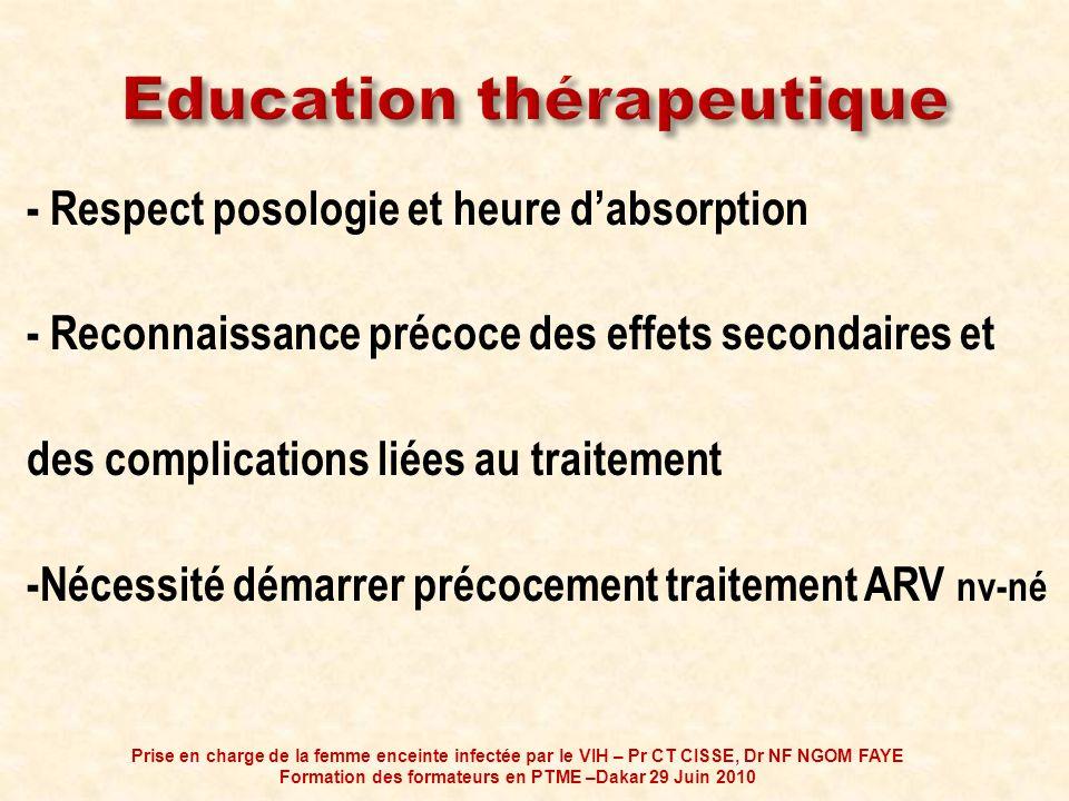 - Respect posologie et heure dabsorption - Reconnaissance précoce des effets secondaires et des complications liées au traitement -Nécessité démarrer