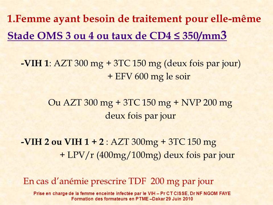 1.Femme ayant besoin de traitement pour elle-même Stade OMS 3 ou 4 ou taux de CD4 350/mm 3 -VIH 1 : AZT 300 mg + 3TC 150 mg (deux fois par jour) + EFV