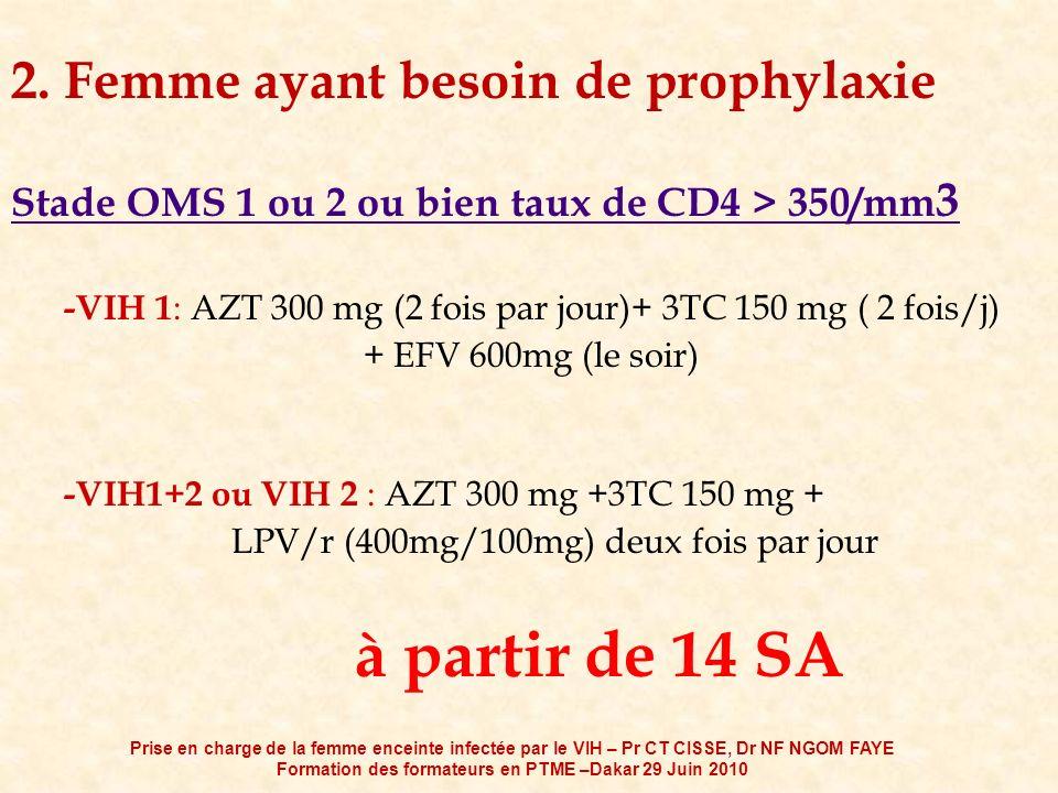 2. Femme ayant besoin de prophylaxie Stade OMS 1 ou 2 ou bien taux de CD4 > 350/mm 3 -VIH 1 : AZT 300 mg (2 fois par jour)+ 3TC 150 mg ( 2 fois/j) + E