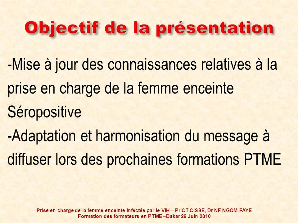 1- Commencer le traitement à un seuil de CD4 plus élevé, à savoir 350 cell/mm 3 Prise en charge de la femme enceinte infectée par le VIH – Pr CT CISSE, Dr NF NGOM FAYE Formation des formateurs en PTME –Dakar 29 Juin 2010