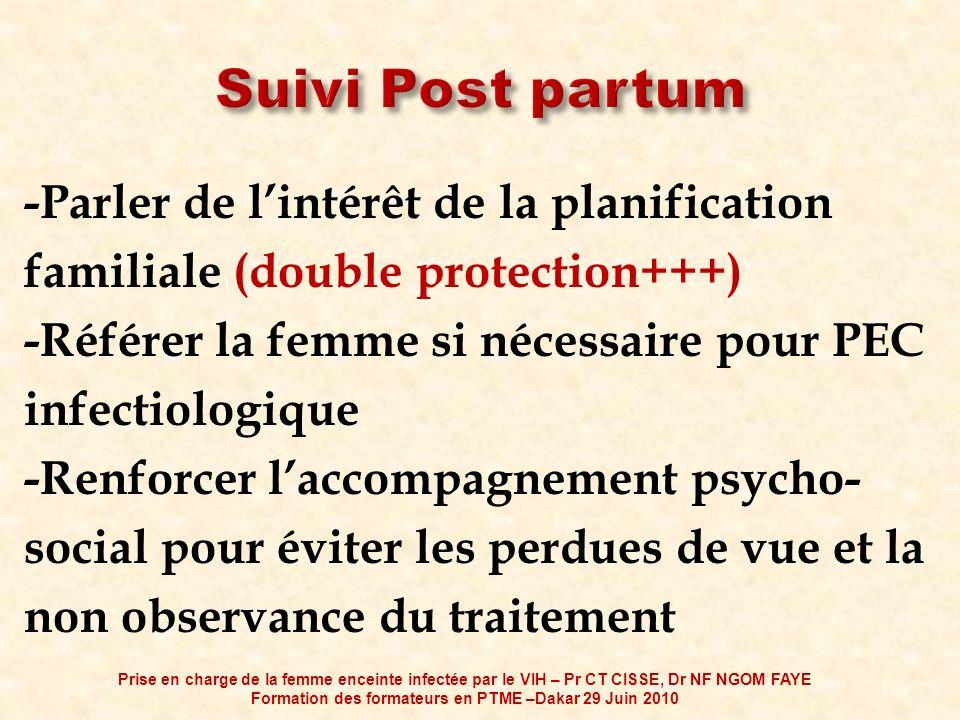 -Parler de lintérêt de la planification familiale (double protection+++) -Référer la femme si nécessaire pour PEC infectiologique -Renforcer laccompag