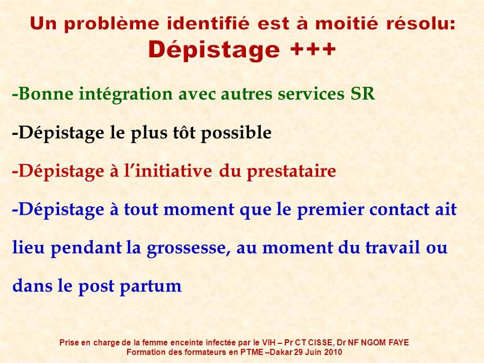-Bonne intégration avec autres services SR -Dépistage le plus tôt possible -Dépistage à linitiative du prestataire -Dépistage à tout moment que le pre