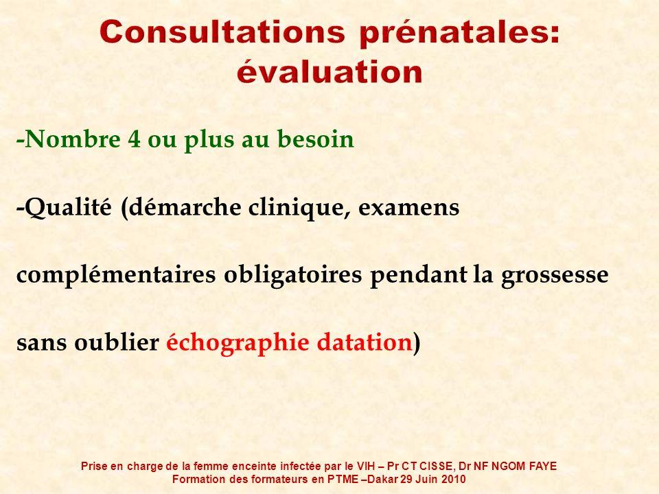 -Nombre 4 ou plus au besoin -Qualité (démarche clinique, examens complémentaires obligatoires pendant la grossesse sans oublier échographie datation)