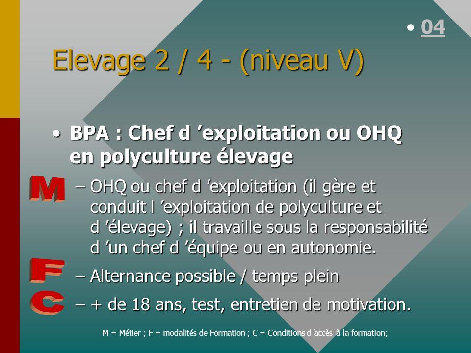 Elevage 2 / 4 - (niveau V) BPA : Chef d exploitation ou OHQ en polyculture élevageBPA : Chef d exploitation ou OHQ en polyculture élevage –OHQ ou chef