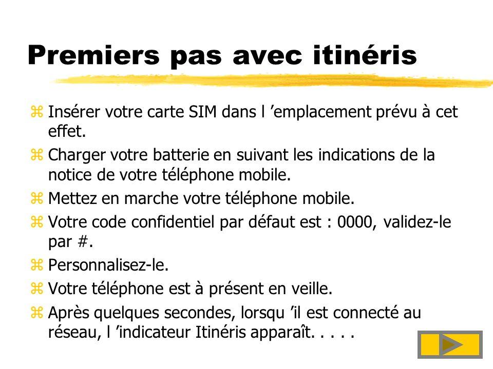 3 France Télécom zPremiers pas avec itinéris zComment téléphoner ? zLes services Itinéris zWanadoo, lInternet de FTI