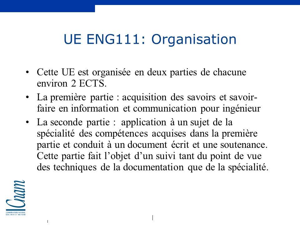 UE ENG111: Validation rédaction dun document de synthèse une présentation orale devant un jury présidé par le profes- seur responsable de la spécialité (ou de loption dans la spécialité) ou son représentant.