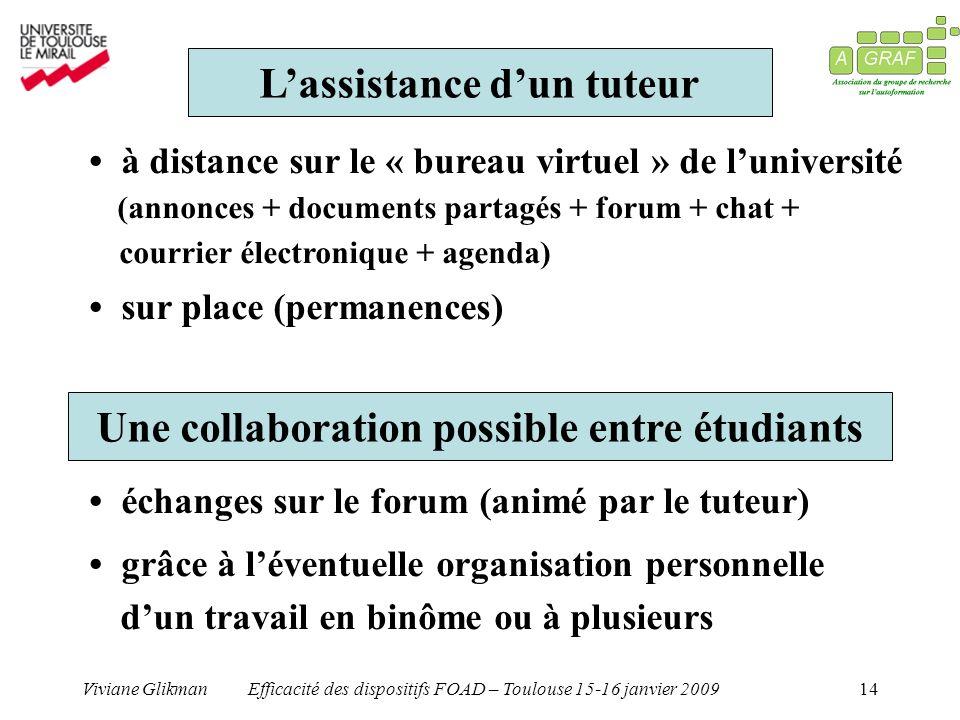 Viviane GlikmanEfficacité des dispositifs FOAD – Toulouse 15-16 janvier 200914 Lassistance dun tuteur à distance sur le « bureau virtuel » de lunivers
