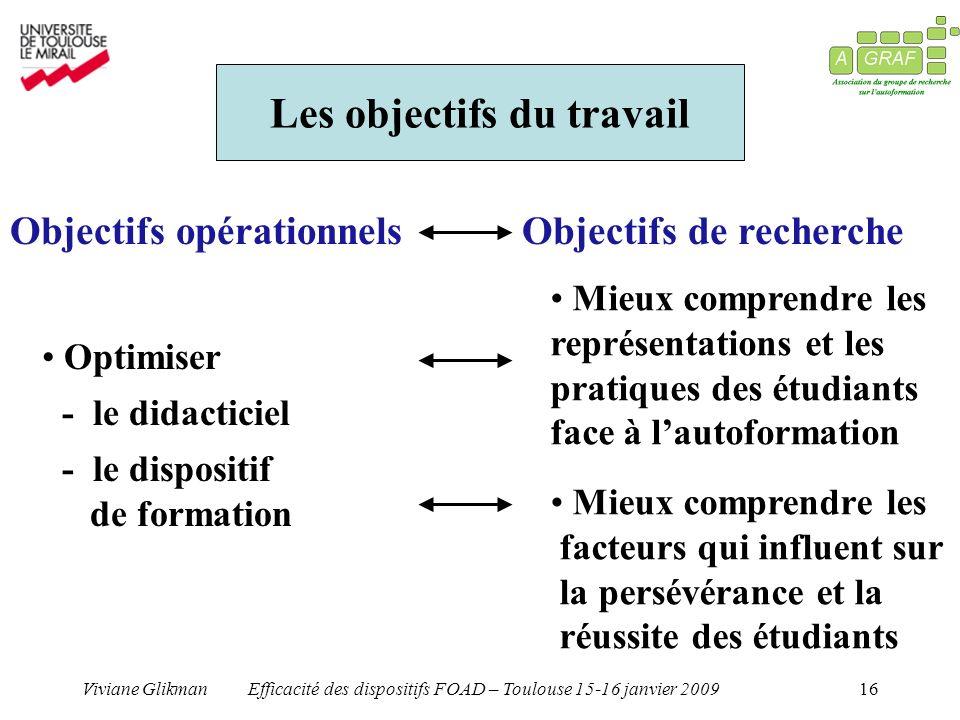 Viviane GlikmanEfficacité des dispositifs FOAD – Toulouse 15-16 janvier 200916 Les objectifs du travail Objectifs opérationnelsObjectifs de recherche