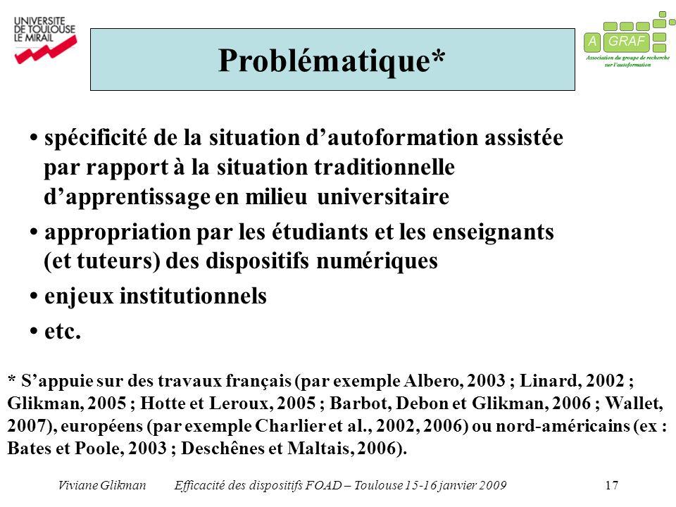 Viviane GlikmanEfficacité des dispositifs FOAD – Toulouse 15-16 janvier 200917 Problématique* spécificité de la situation dautoformation assistée par