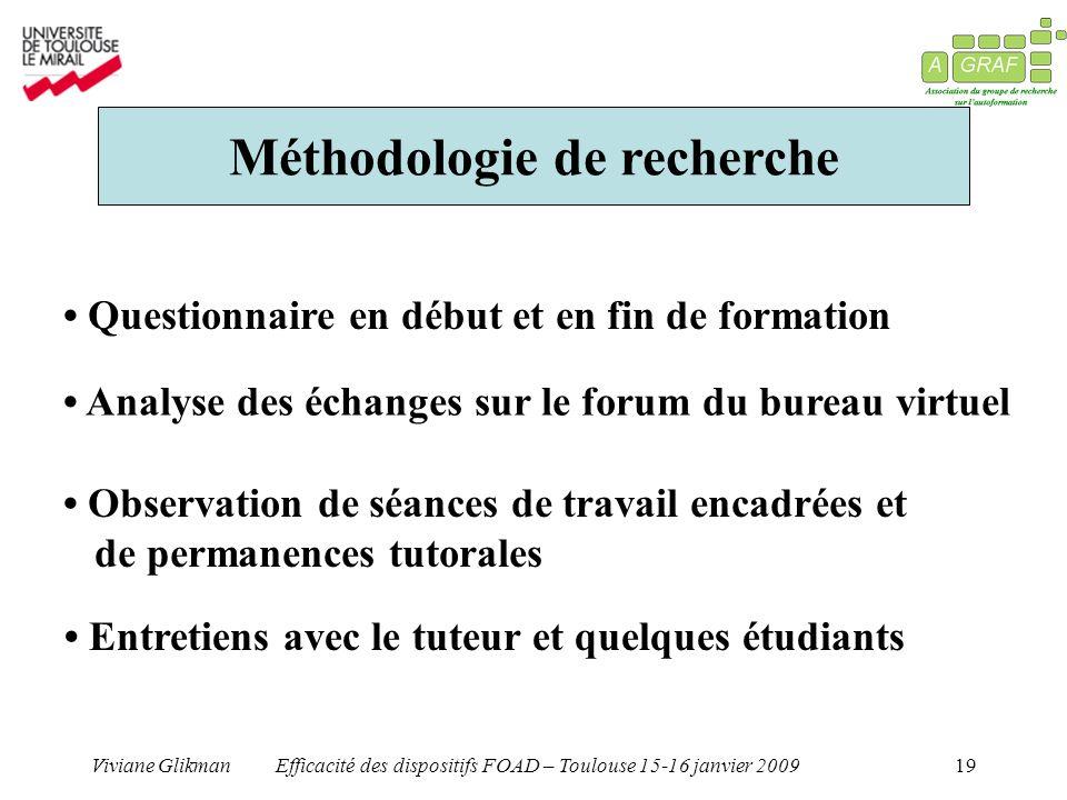 Viviane GlikmanEfficacité des dispositifs FOAD – Toulouse 15-16 janvier 200919 Méthodologie de recherche Questionnaire en début et en fin de formation