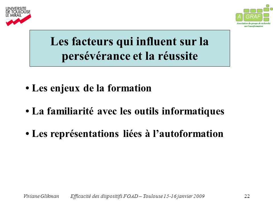 Viviane GlikmanEfficacité des dispositifs FOAD – Toulouse 15-16 janvier 200922 Les facteurs qui influent sur la persévérance et la réussite Les enjeux